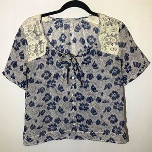 Kimchi Blue Sheer Floral ButtonUp Blouse